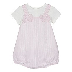 J by Jasper Conran - 'Baby girls' pink striped romper suit and white t-shirt set