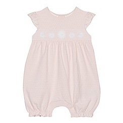 J by Jasper Conran - 'Baby girls' pink textured spot romper suit