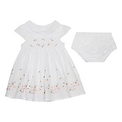 J by Jasper Conran - Baby Girls' White Floral Embroidered Dress and Knickers Set
