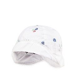 J by Jasper Conran - Baby girls' white floral embroidered hat