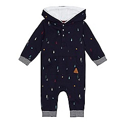 Mantaray - Babies navy forest print all-in-one