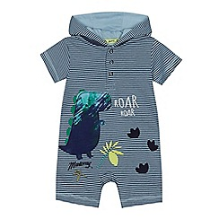 Mantaray - Baby boys' blue dinosaur applique romper suit