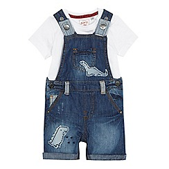 Mantaray - Babies blue denim dinosaur applique dungarees and white t-shirt set