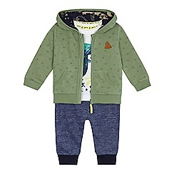 Mantaray - Baby boys' white dinosaur t-shirt, green zip through hoodie and blue jogging bottoms set
