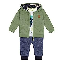 Mantaray - Baby boys' white dinosaur t-shirt, green zip through hoodie and blue jogging bottoms set