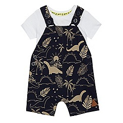 Mantaray - Babies navy dinosaur print dungarees and white bodysuit set