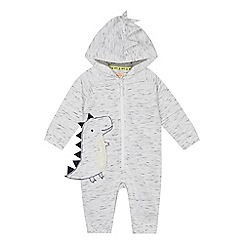 Mantaray - 'Baby boys' grey dinosaur applique all in one