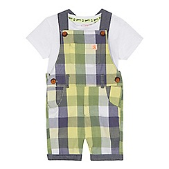 Mantaray - 'Baby boys' green checked dungarees and t-shirt set