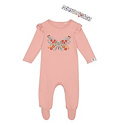 Mantaray - Baby girls' pink embroidered butterfly sleepsuit and headband set
