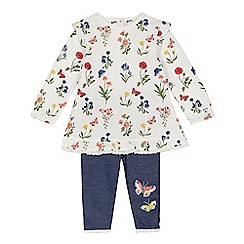 Mantaray - Baby girls' white floral tunic and leggings set