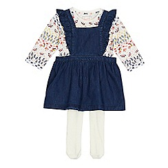 Mantaray - Baby girls' blue chambray pinafore, floral top and tights set