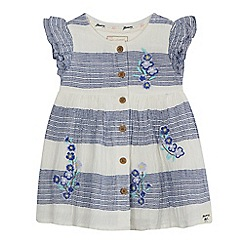 Mantaray - Baby girls' white and blue floral embroidered dress