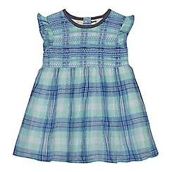 Mantaray - Baby girls' blue and green checked shirred dress
