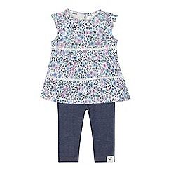 Mantaray - 'Baby girls' multi-coloured floral print tunic and navy leggings set