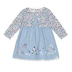 Mantaray - Baby girls' blue floral mock dress