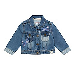 Mantaray - Baby girls' blue denim bird embroidered jacket