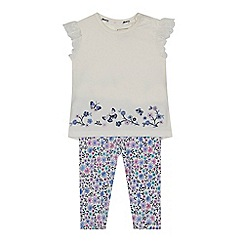 Mantaray - Baby girls' white top and floral print leggings set