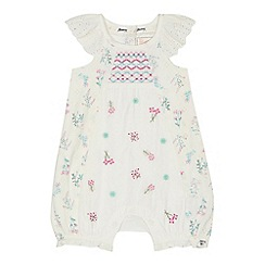 Mantaray - Baby girls' off white broderie anglaise romper suit