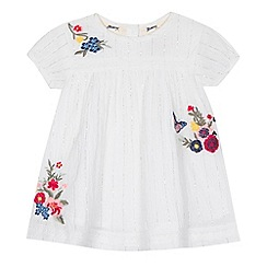 Mantaray - 'Baby girls' white floral embroidered dress