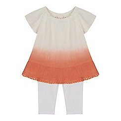 Mantaray - 'Baby girls' orange ombre-effect print top and leggings set