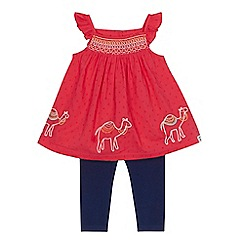 Mantaray - Baby girls' red embroidered camel tunic and and navy leggings set