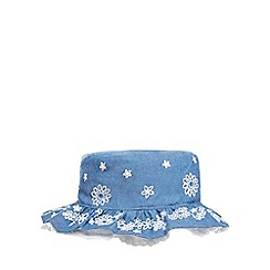 Mantaray - Baby girls' blue chambray embroidered hat