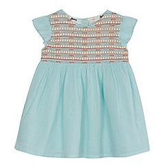 Mantaray - 'Baby girls' pale green embroidered yoke dress