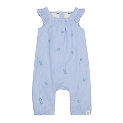 Mantaray - Baby girls' blue floral embroidered romper suit