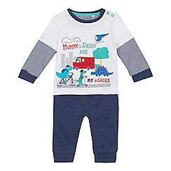 bluezoo - 'Baby boys' blue striped top and jogging bottoms set