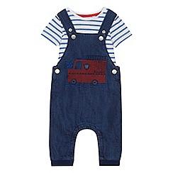 bluezoo - 'Baby boys' blue fire engine applique dungarees and bodysuit set