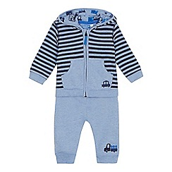 bluezoo - Baby boys' blue striped long sleeve hoodie and jogging bottoms set