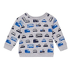 bluezoo - Baby boys' grey transport print sweatshirt