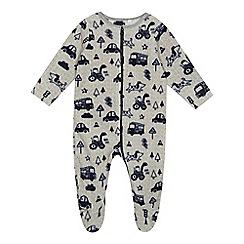 bluezoo - 'Baby boys' grey transport print sleepsuit