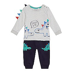 bluezoo - Baby boys' grey striped print top and joggings set