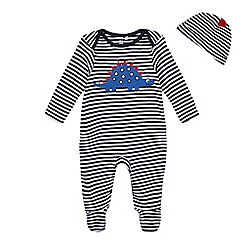 01c780b57 bluezoo - 'Baby boys' navy dinosaur applique sleepsuit with a hat