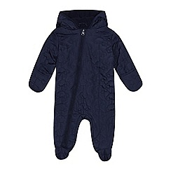 bluezoo - Baby boys' navy car textured snowsuit