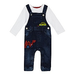 bluezoo - Baby boys' navy denim vehicle applique dungarees and white bodysuit set