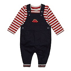 bluezoo - 'Baby boys' navy dinosaur embroidered dungarees and bodysuit set