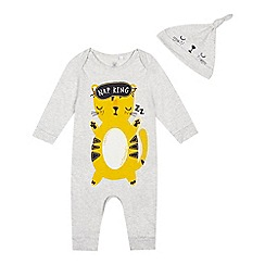 bluezoo - 'Baby boys' grey cat nap print sleepsuit with a hat