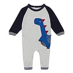 bluezoo - Baby boys' grey dinosaur knit romper suit