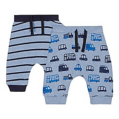 bluezoo - 2 pack baby boys' blue printed jogging bottoms