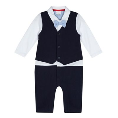 Bluezoo   Baby Boys' Navy Mock Romper Suit by Bluezoo
