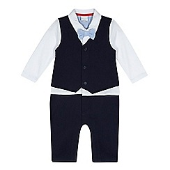 bluezoo - Baby boys' navy mock romper suit