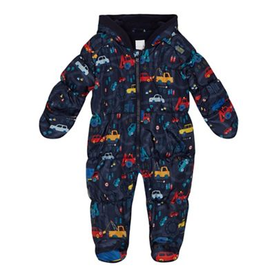 2821f16b0 bluezoo Baby boys  navy vehicle print snowsuit