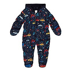 bluezoo - Baby boys' navy vehicle print snowsuit