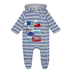 bluezoo - Baby boys' grey striped dinosaur applique snuggle suit
