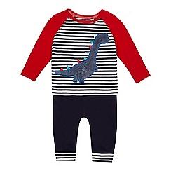 bluezoo - 'Baby boys' blue dinosaur applique top and jogging bottoms set