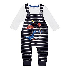 bluezoo - 'Baby boys' navy printed dungarees and bodysuit set