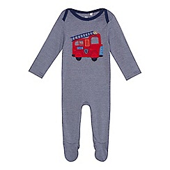 bluezoo - 'Baby boys' navy fire engine applique cotton long sleeve sleepsuit