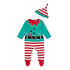 bluezoo - Babies' green elf sleepsuit with a hat